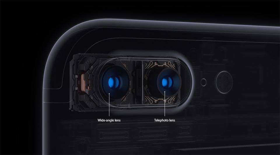 iphone 7 plus due fotocamere grandangolo teleobiettivo